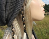 Ponytail Holders Brown / Black Leather Hair Wrap Beaded, Feather Bead Extensions You Choose Colors Z106