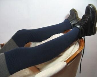 Thigh High Socks Over the Knee Leg Warmers Footless Boot Socks Marine Navy Blue  A587
