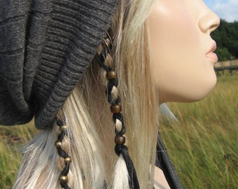2 Ponytail Holders Hair Jewelry Leather Hair Wrap with Glass Beads, Feather Leather Extensions  Z106