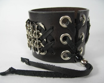 Black Leather Cuff Bracelet Chainmaille Armor Bracelet Men's Womens Wide Wrap Chain Mail Wristband