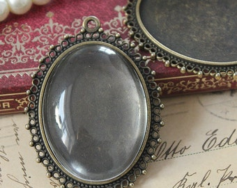 2Pcs 30x40mm antique bronze Plated Brass Cabochon Base frame Pendant Base with Loop  (SETHY-139)