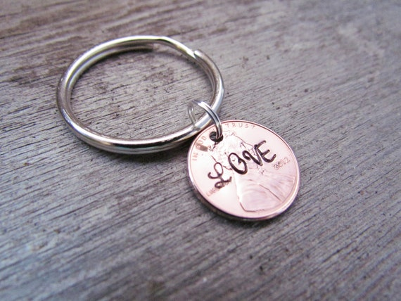 LOVE Penny Keychain Hand Stamped Charm Custom Name Choose Your Own Word DATE Penny Year from 1950 to 2016 Anniversary Wedding Birthday Gift