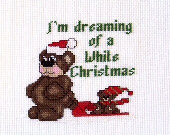 White Christmas Teddy Bears Completed Cross Stitch - Home Decor, Christmas Decoration, Finished X Stitch