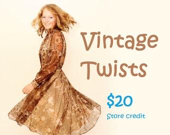 Vintage Twists 20 dollar store credit gift voucher