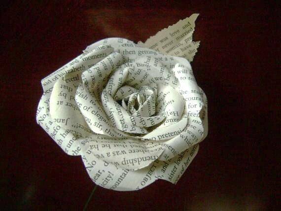 jane austen pride and prejudice vintage book paper flower