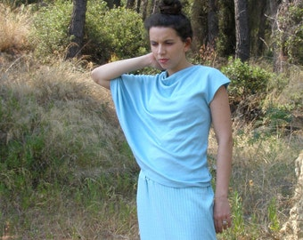 Turquoise blouse asymmetrical geometric spring autumn fashion