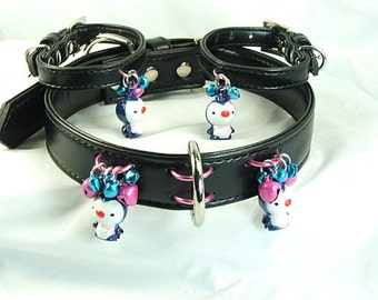 Penguin bell Slave collar black Leather bdsm collar Kawaii collar mature bdsm restraints set pinchthemuse