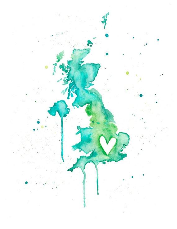 5x7 or 8.5x11 - United Kingdom Love