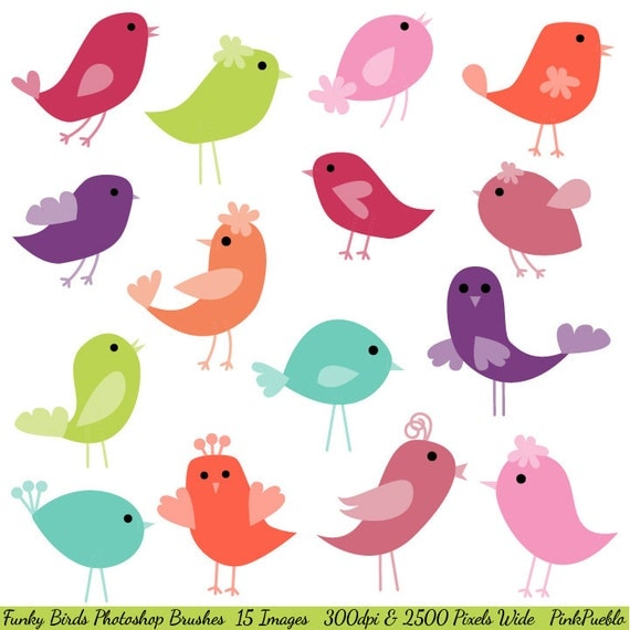 Birds Photoshop Brushes, Funky Birds Photoshop Brushes - Commercial and Personal