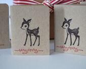 Woodland Reindeer Hand-stamped Mini Gift Tag / Card Set in Kraft Brown