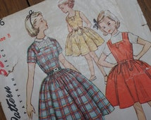 "Vintage Sewing Pattern Girls 1950s Dress Size 8 Simplicity For 26"" Chest"