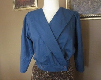 1980s Blue Wrap Around Blouse