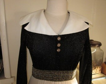 1960s White & Black Party Maxi Dress