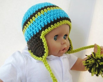Crochet Hat Pattern , Newborn Baby to Adult,  Boy and Girl, Pdf Crochet Ear flap hat  pattern - Madison Earflap Hat