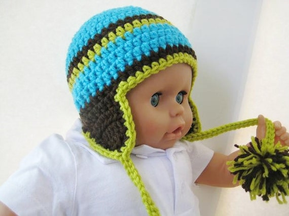 Newborn Crochet Hat Pattern With Ear Flaps : Crochet Hat Pattern Newborn Baby to Adult Boy and Girl