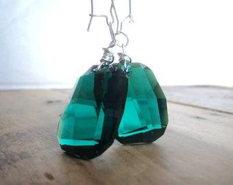Swarovski Emerald 28mm Drop Earrings on Sterling Silver KidneyWire