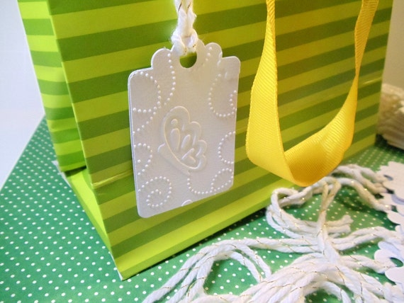 Gift Tags- Set of 24 - Butterfly Tags- Embossed Tags-  Double Layer Tags- Tie on Tags- Elegant Tags- Gift Bag Tags- Wedding Tags-Gift Cards