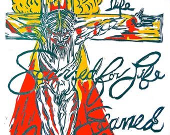 The Crucifixion Original Block Print