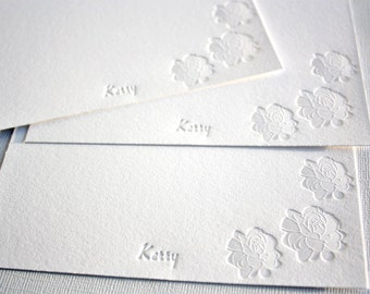 Personalized Letterpress Stationery Pikake Jasmine Blossoms