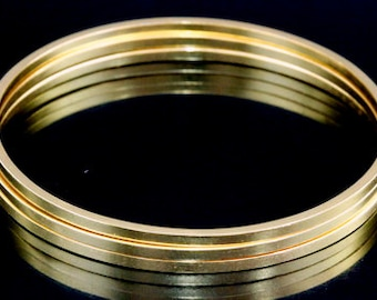 Sil-BG-002 Handmade 3 matt square wire 24K gold vermeil over sterling silver stacking bangles