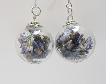 Real Lavender Earrings, Hand Blown Glass Beads, Real Flower Jewelry, Bridesmaid Gift, Holiday Gift