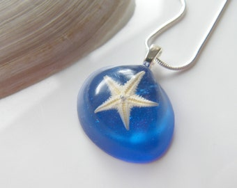 Real Starfish Pendant, Starfish Resin Necklace, Mermaid Pendant