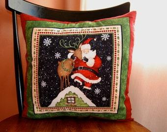 Santa Pillow, Santa is Coming to Town, Christmas Pillow, Holiday Decor