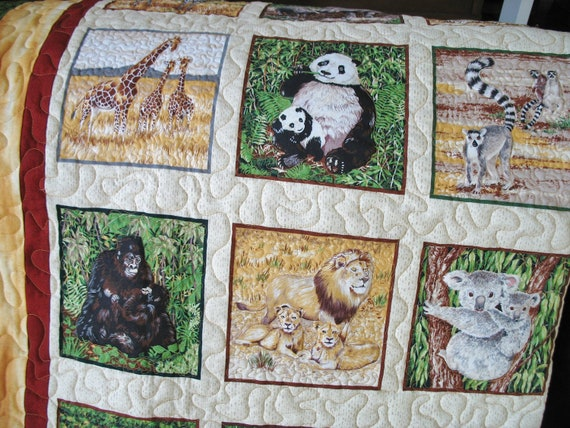 Jungle Lap Quilt - Throw- Toddler Bed Adorable Baby Safari Animals
