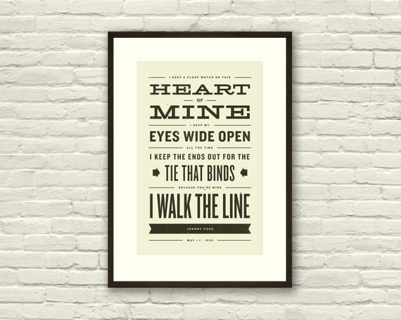 JOHNNY CASH Inspired, Walk The Line Lyric Poster - 11 x17 Typography Art Print, Modern Poster, Retro Home, Vintage, Country Music