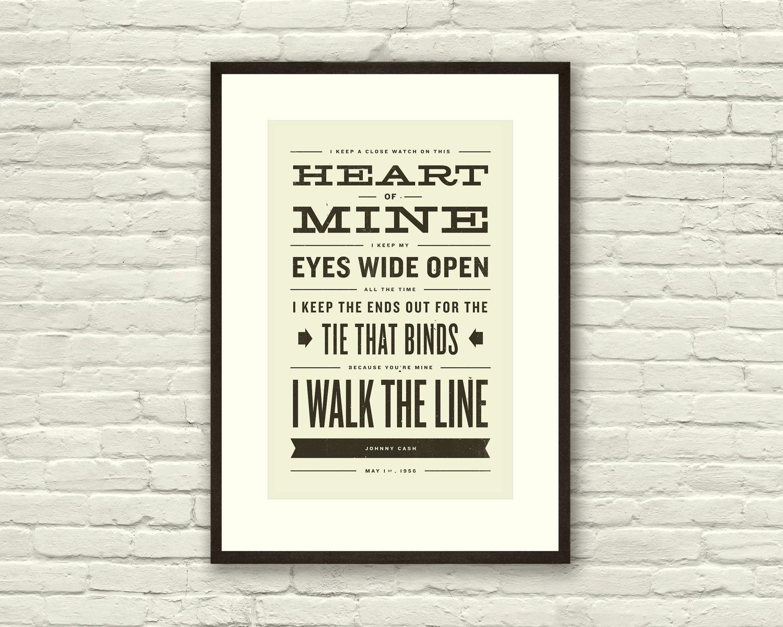 Lyric: JOHNNY CASH Inspired Walk The Line Lyric Poster 11 X17