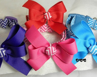 Dog Collar Chevron Everyday Fun 8 plus color choices w matching Ribbon Bow Adjustable Dog Collar D Ring Accessories Pet Accessory Pets