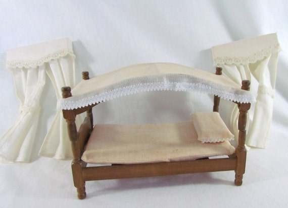 Vintage Dollhouse Canopy Bed with Curtains Wood Frame