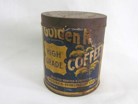 1903 Antique Coffee Tin  Golden Rod Victor Coffee Company Boston