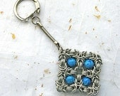 Chainmail and polymer clay keyring byzantine weave unisex