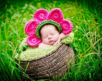 Newborn Baby Girl Photo Prop Flower Hat
