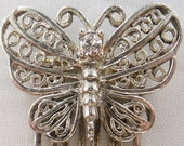 Vintage accessory hair comb in silver tone butterfly pattern with rhinestones hair comb wedding accessory