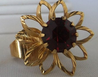 Vintage jewelry earrings in Juiliana gold tone flower clip back earring with a 9 prong set ruby red rhinestone Sale half price
