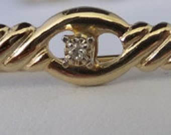 Vintage jewerly collar pin in 14KT GF with 1 point diamond collar pin signed wedding brooch