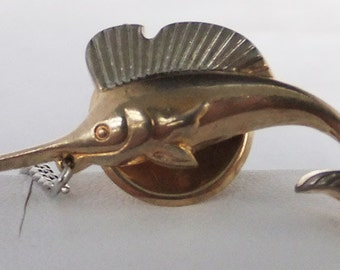 Vintage jewelry tie tack by SWANk in silver sword fish tie tac Sale half price