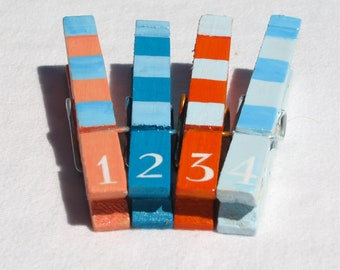 NUMBERS CLOTHESPINS  hand painted magnetic clothespin set orange turquoise