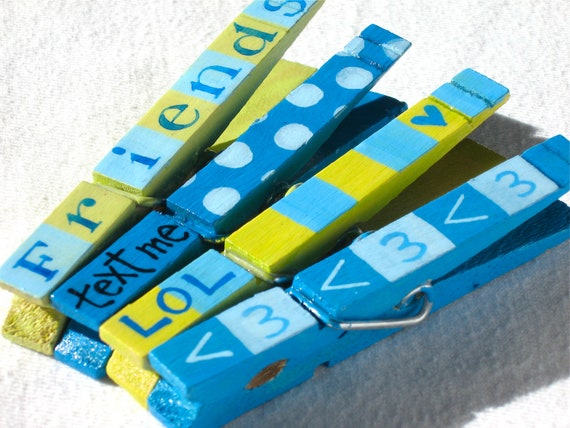 TEXTING FRIEND CLOTHESPIN hand painted magnetic clothespin set