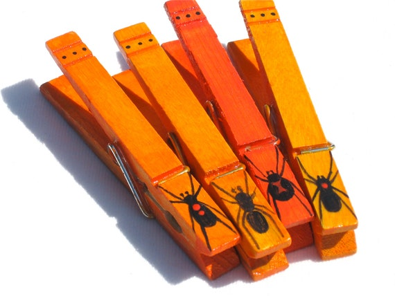 SPIDERS hand painted magnetic clothespin pegs