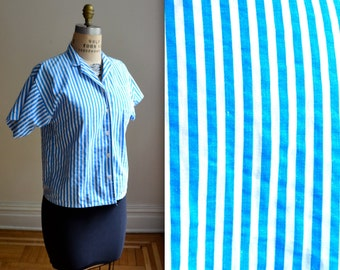 Vintage White and Blue Striped Shirt// 80s Striped Shirt Blouse Button Down Cotton Shirt Size Medium