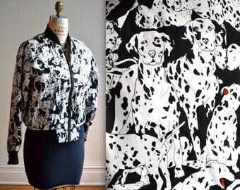 90s Nicole Miller Vintage Silk Bomber Jacket with Dalmatian Dog Print size XL// Vintage Animal Print Bomber Jacket Large Black and White