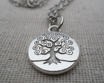 Tree Necklace Tree of Life Silver Necklace Tree Jewelry Simple Everyday Silver Jewelry