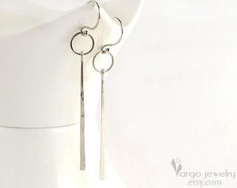 Sterling Silver Minimalism Modern Dangle Minimalist Geometric Long Earrings White Neutral Grey
