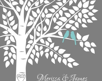 Guest Book Tree Personalized Wedding Print - 16x20-150 Signature Keepsake Guestbook Poster