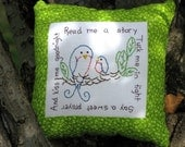 Read Me a Story - Hand Embroidered Tuck Pillow