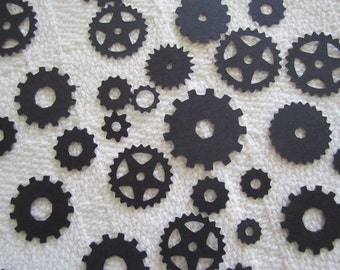 Gear Confetti Mechanical Cogs, Steampunk Confetti Party Decor Scrapbook Embellishment 100 pc Color Options