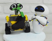 Wall E and EVA with planter custom wedding cake topper gift decoration